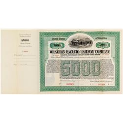 Western Pacific Railway $5000 Bond Specimen