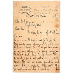 Wells Fargo, Seattle, Washington Territory Letter, 1881