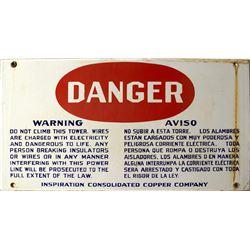 """DANGER"" Inspiration Copper Company Sign"