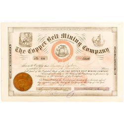Copper Belt Mining Co. Stock Certificate, 1884