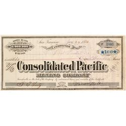 Consolidated Pacific Mining Company Stock Certificate, Bodie, 1884