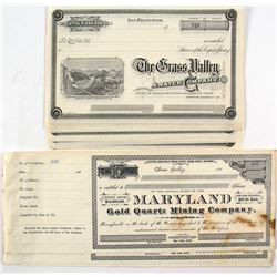 23 Grass Valley Mining Stock Certificates