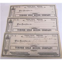 Turner Gold Mining Company Stock Certificates (20) (Marysville, CA)