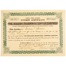 The Bullion Mountains Copper Co. Stock Certificate