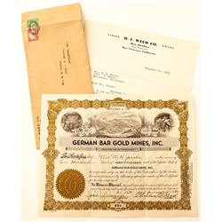 German Bar Gold Mines, Inc. Stock Certificate