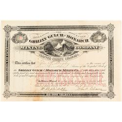 Grizzly Gulch and Monarch Mining Co. Stock Certificate, 1871, Chafee County, Colorado