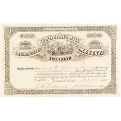 Carbonate Hill Consolidated Mining Co. Stock Certificate, Leadville, 1881