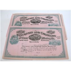 Wisconsin and Colorado Silver Mining Co. Stock Certificates (35) (Cameron Mtn. District near Salida)