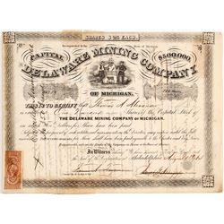 Delaware Mining Co. of Michigan Stock Certificate, 1864