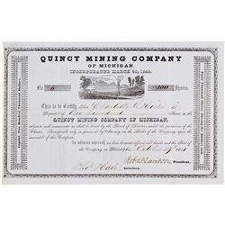 Quincy Mining Co. of Michigan Stock Certificate, 1851