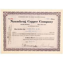 Naumkeag Copper Co. Stock Certificate, 1914
