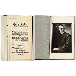 Oscar Rohn (East Butte Copper Mining Company) Tribute