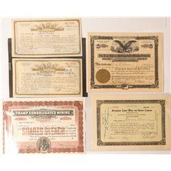 Five Bullfrog Region Mining Stock Certificates
