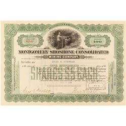 Montgomery Shoshone Consolidated Stock Certificate Issued to Chas. Schwab