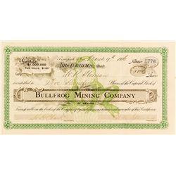 Rare Bullfrog Mining Co. Stock Certificate w/ Bullfrog Vignette, 1906
