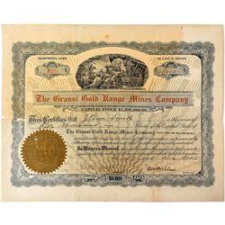 Grassi Gold Range Mines Company Stock Certificate (Camp Douglas, Nevada)