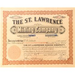 St. Lawrence Mining Co. Stock Certificate, Ely, 1905
