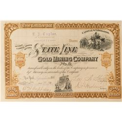 State Line Gold Mining Co. Stock Certificate, 1881