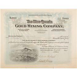 Blue Quartz Gold Mining Co. Stock Certificate w. Vignette of Goldfield, 1906
