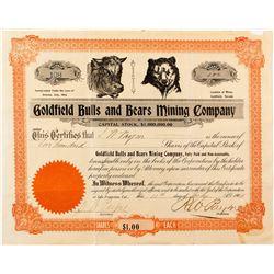 Extra Rare Goldfield Bulls and Bears Mining Company Stock Certificate, 1904