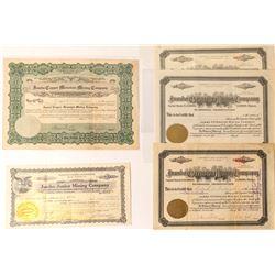 Five Jumbo Mining Stock Certificates