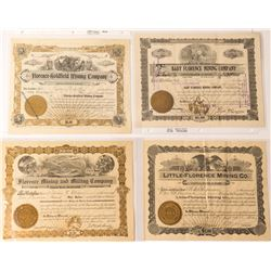 Four Different Florence Mine Stock Certificates, Goldfield