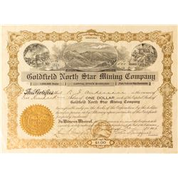 Goldfield North Star Mining Co. Stock Certificate Signed by George Wingfield