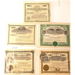 Five Different Goldfield Mining Stock Certificates