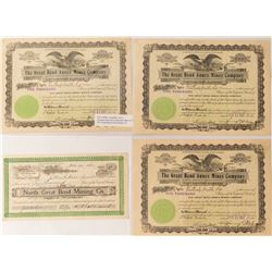 Great Bend Mining Stock Certificates, 1906-07, Goldfield, Nevada