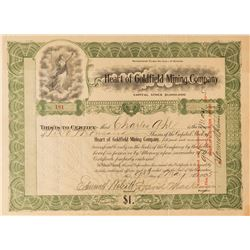 Heart of Goldfield Mining Co. Stock Certificate, 1905