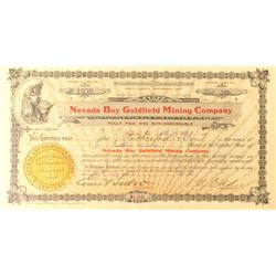 Nevada Boy Goldfield Mining Company Stock Certificate, 1909, Signed by Senator Oddie