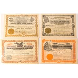 Four Different Scarce Goldfield Mining Stock Certificates