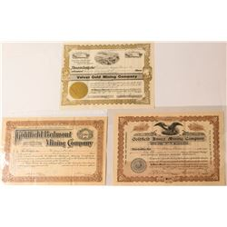 Three Different Goldfield Mining Stock Certificates, 1906-09