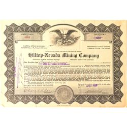 Hilltop-Nevada Mining Co. Stock Certificate, Hilltop, Nevada, 1925