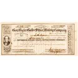 Governor Bigler Gold & Silver Mining Co. Stock Certificate, Territorial, Signed by Bigler