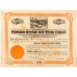 Very Rare Manhattan-Breyfogle Gold Mining Company Stock Certificate, 1906