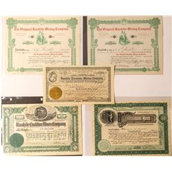 Five Rawhide Area Mining Stock Certificates