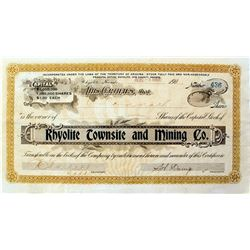 Rare Rhyolite Townsite and Mining Company Stock Certificate, 1906