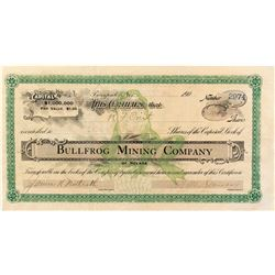 Extra Rare Bullfrog Mining Company Stock Certificate with the Famous Green Bullfrog