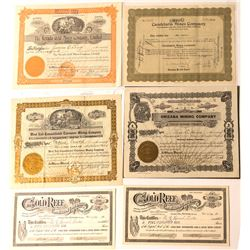 Six Tonopah Area Mining Stock Certificates, 1905-1922