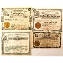 Four Different Tonopah, Nevada Area Mining Stock Certificates