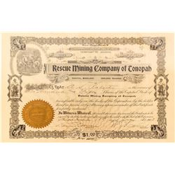 Rescue Mining Co. of Tonopah Stock Certificate signed by Key Pittman, 1903