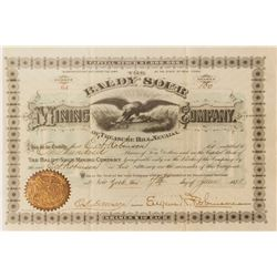 Baldy Sour Mining Co. Stock Certificate, 1878, Treasure Hill, Nevada
