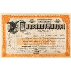 Comstock Tunnel Stock Certificate (Sutro Tunnel), 1891