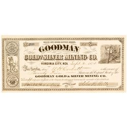Goodman Gold and Silver Mining Co. Stock Certificate, 1874, Virginia City, Nevada