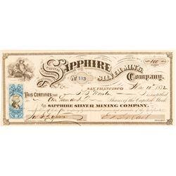 Sapphire Silver Mining Co. Stock Certificate, 1872, Virginia City, Nevada