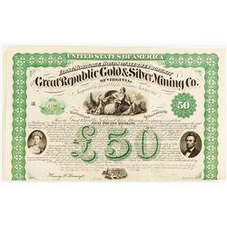 Great Republic Gold & Silver Mining Co. Of Virginia Bond, 1867