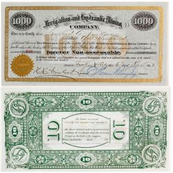Irrigation & Hydraulic Mining Co. Stock Certificate, 1893, Golden, New Mexico