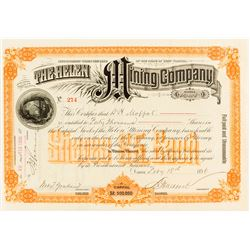 Helen Mining Co. Stock Certificate issued to David Moffat, 1896
