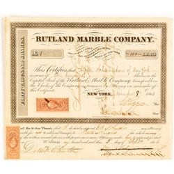 Scarce Rutland Marble Company Stock Certificate, 1863